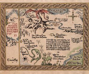 the hobbit, map, and LOTR image