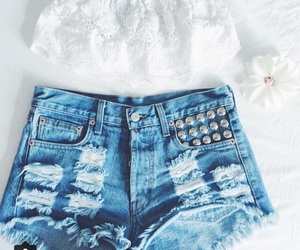 high waisted shorts, crop top, and outfits image