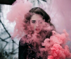 girl, pink, and smoke image