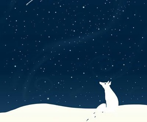 night, snow, and stars image