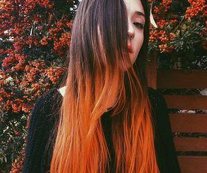 dip dye, autumn, and black image