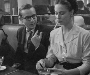 simone de beauvoir, sartre, and black and white image