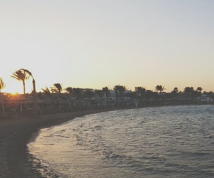 beach, evening, and see image
