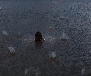 girl, rain, and water image