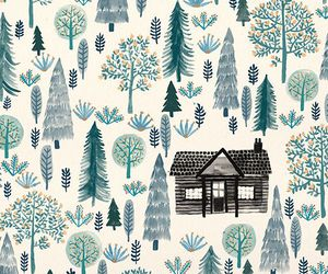 wallpaper, house, and tree image