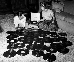 music, records, and black and white image