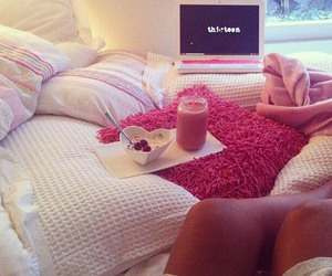 bed, smoothie, and pillows image