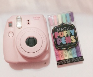camera, instax, and pink lights image