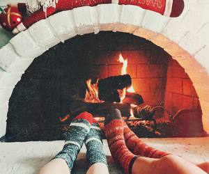 cozy, fireplace, and socks image