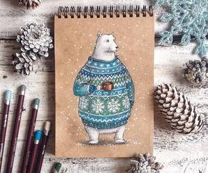 art, winter, and bear image