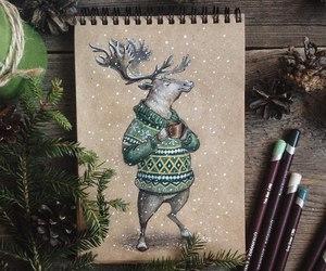 art, deer, and sweater image