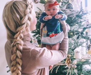 hair, baby, and christmas image