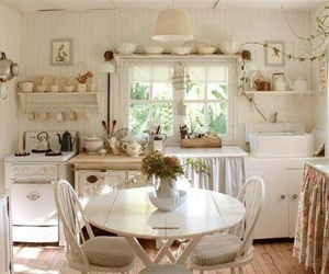 kitchen, white, and shabby chic image