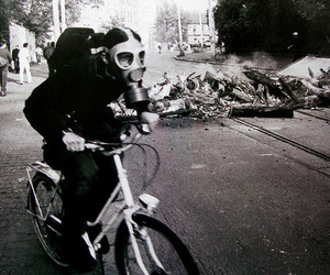 bicycle, black and white, and fire image