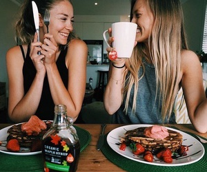 best friends, breakfast, and coffee image