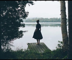 girl, forest, and lake image