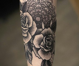 black, flowers, and mandala image