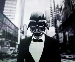 darth vader, photography, and black and white image
