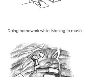 homework, music, and funny image