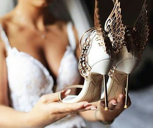 shoes, wedding, and dress image