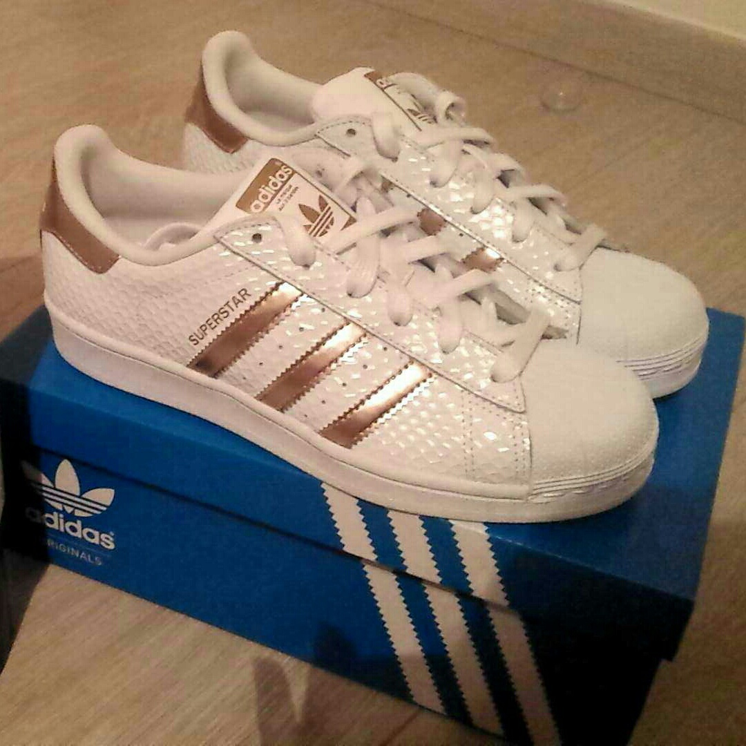 adidas superstar with copper stripes
