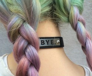 bye, colorful hair, and grunge image
