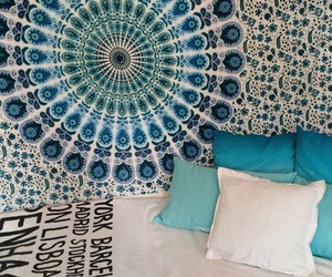 bed, blue, and boho image