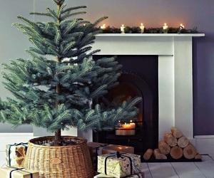 christmas, tree, and fireplace image