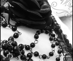 beads, black and white, and rosary image