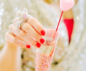 heart, pink, and champagne image