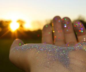 glitter, sun, and hand image