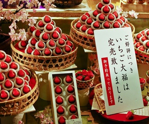 strawberry, japanese dessert, and strawberry filling image