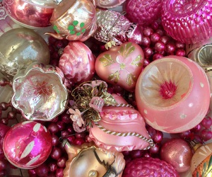 christmas, pink, and vintage ornaments image