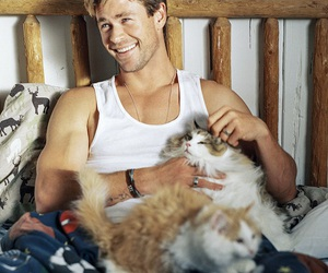 chris hemsworth, actor, and cat image
