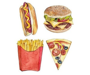 art, fries, and food image