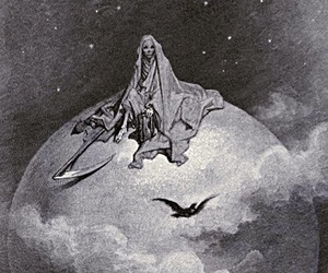 death, moon, and black and white image
