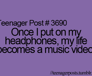 headphones, life, and music image