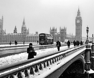 london, snow, and tower image