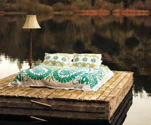 bed, lake, and water image