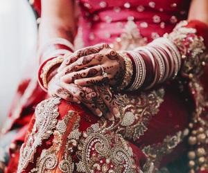 wedding, dress, and henna image