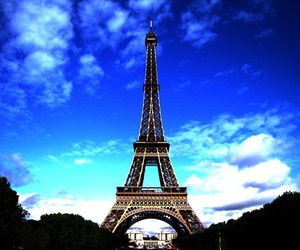 blue, clouds, and eiffel tower image
