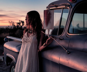 girl, car, and dress image