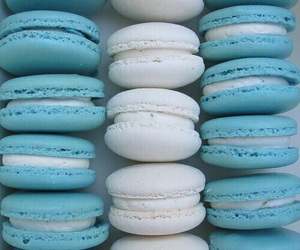 blue, tiffany blue, and macaroons image