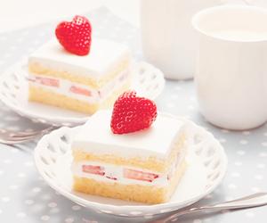 cake, strawberry, and white image