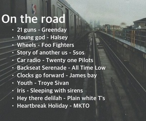 music, playlist, and on the road image