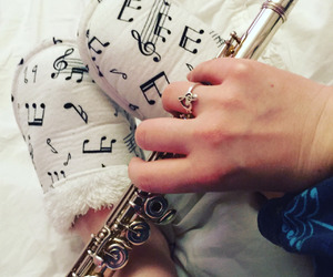 bed, flute, and girl image