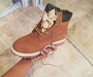 timberland, shoes, and flowers image