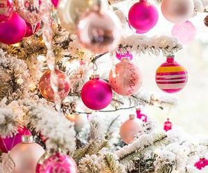 christmas, pink, and snow image