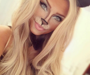 cat, Halloween, and makeup image