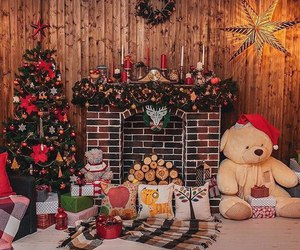 christmas tree, fireplace, and new year image